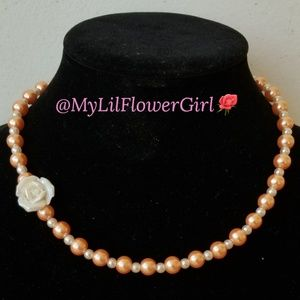 Girls peach pearl flower girl/birthday gift!